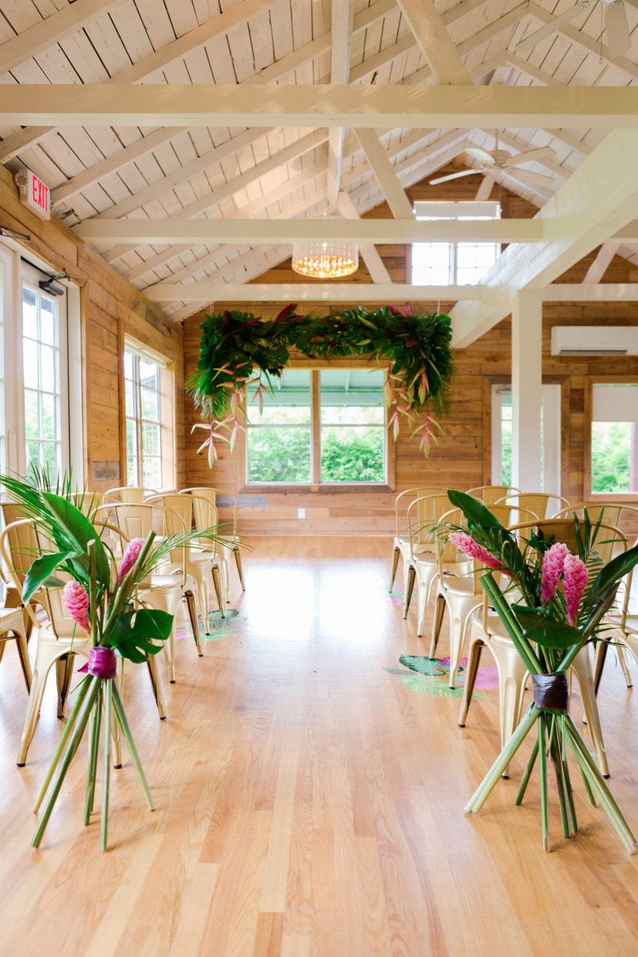 modern tropical wedding ceremony decor