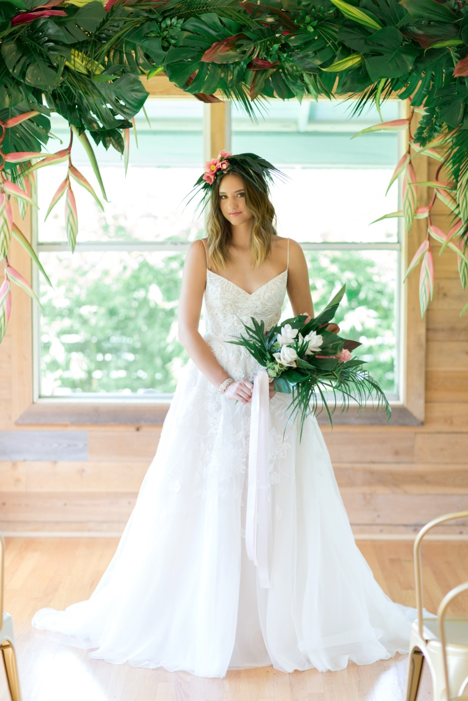 tropical halo wedding ceremony decor