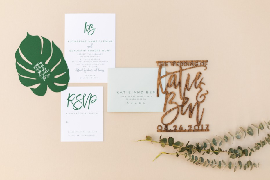 tropical and modern wedding invitations