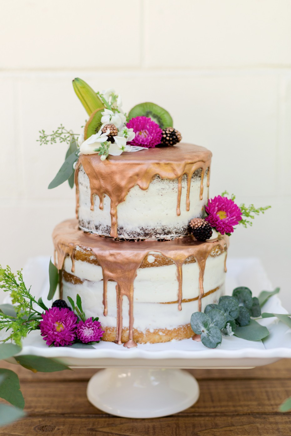 copper frosted wedding cake