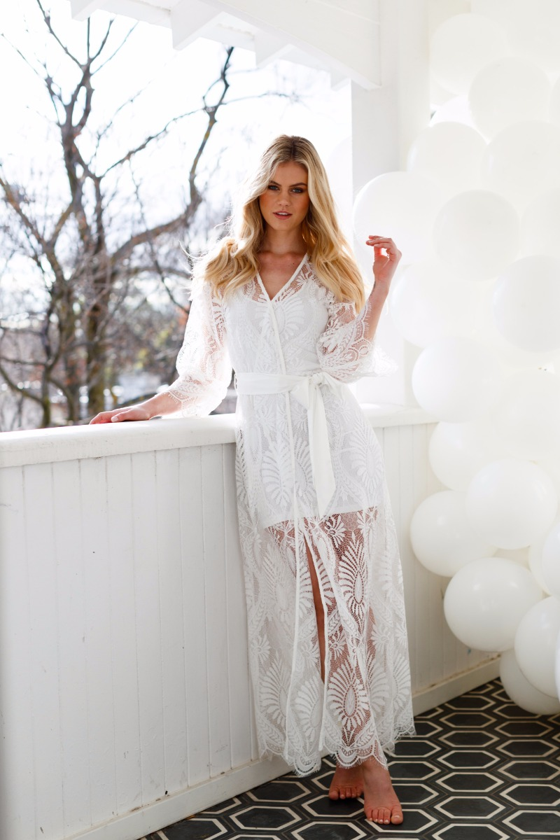 Our exclusive Mila Lace Maxi robe is the perfect robe for the 'Bride to Be' to make the ultimate statement