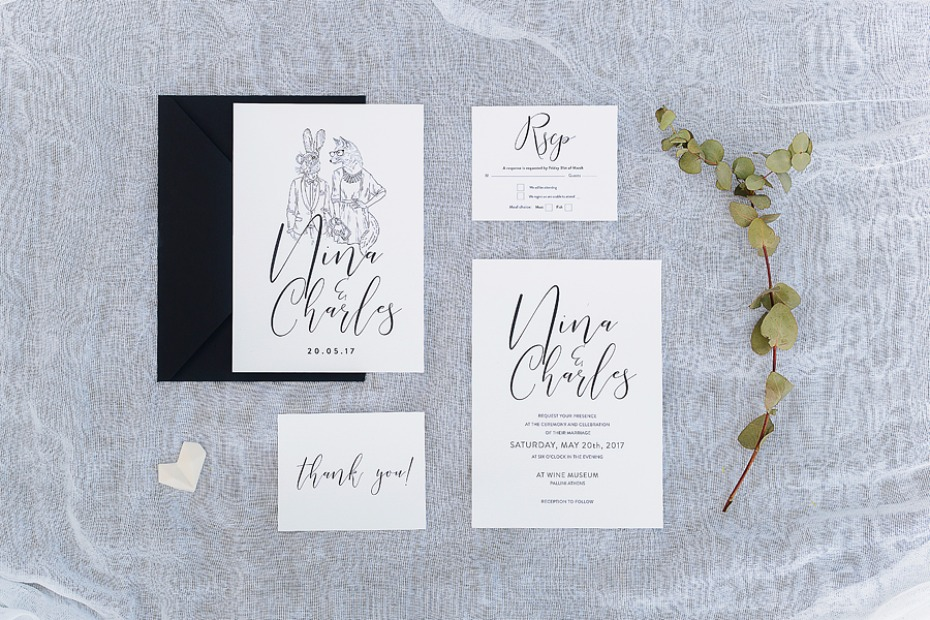 Illustrated invitation suite
