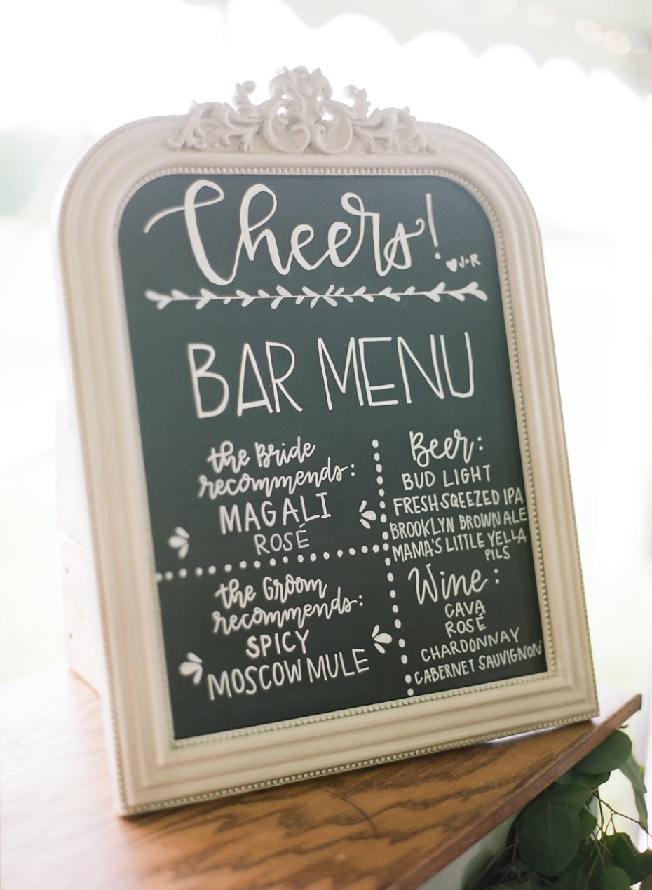 chalkboard wedding bar sign