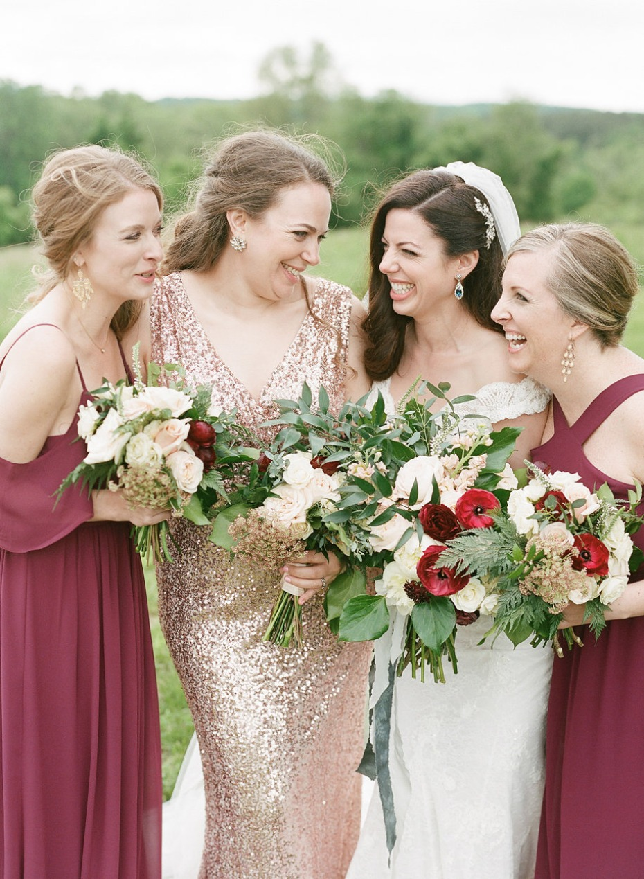 bridesmaids in red and gold