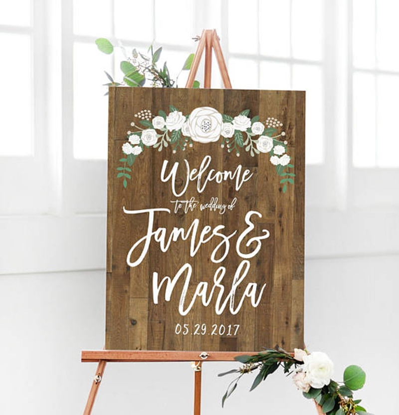 Welcome your guests to your wedding with this rustic wood sign by Miss Design Berry. It is not real wood. It is just printed to look