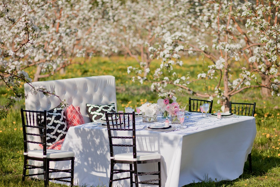 cute pink and white wedding table set up