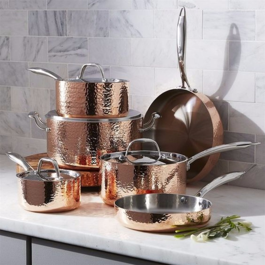 Fleischer and Wolf Hammered Copper 10-Piece Cookware Set
