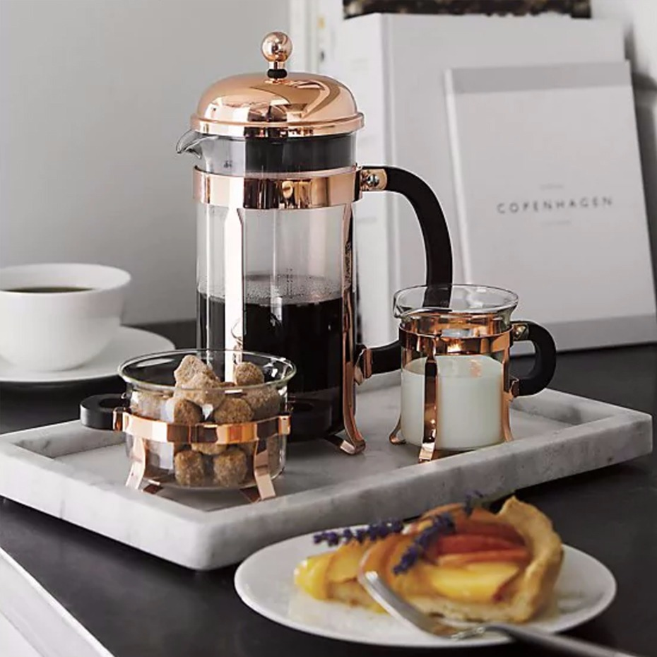 beautiful glass cream and sugar set is the perfect complement to our Bodum copper from @crateandbarrel