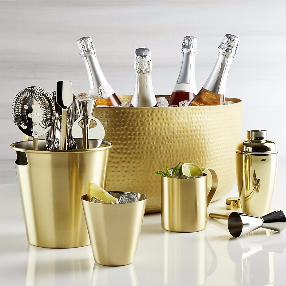 Gold barware set for the entertainer from @crateandbarrel