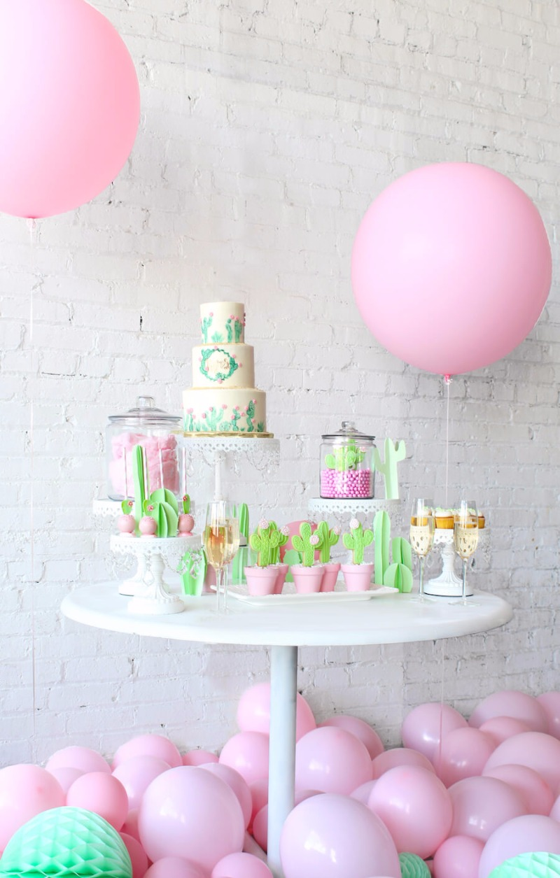 Bridal Shower Dessert Table Cuteness with Cotton Candy & Cactus on White Chandelier Cake Stands created by Opulent Treasures
