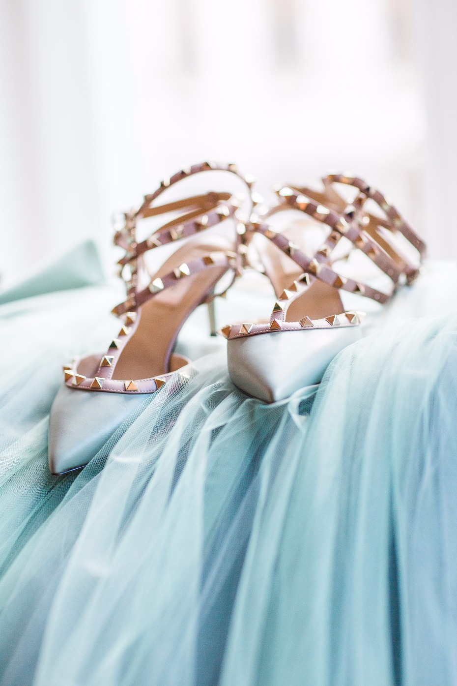Rock studded heels and blue tulle for this winter bridal look