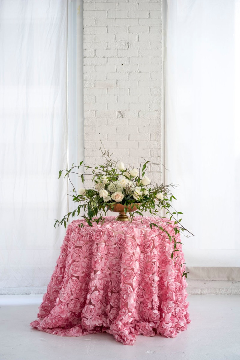 Our new Belle Rose Tablecloths are to die for! Available as table runners and overlays as well, these 3d rose tablecloths add a great