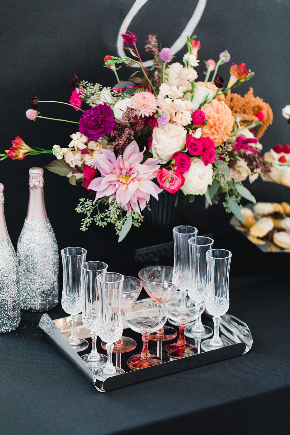 vintage Champagne glasses on a tray