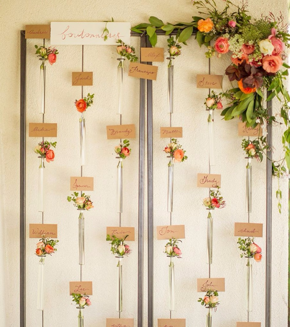 hanging floral place card backdrop