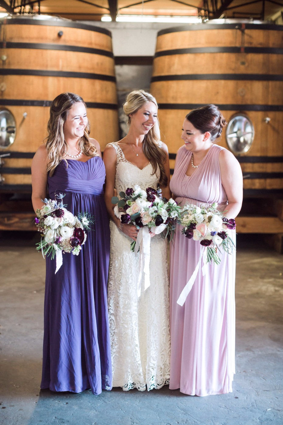Bridesmaids in blush and purple