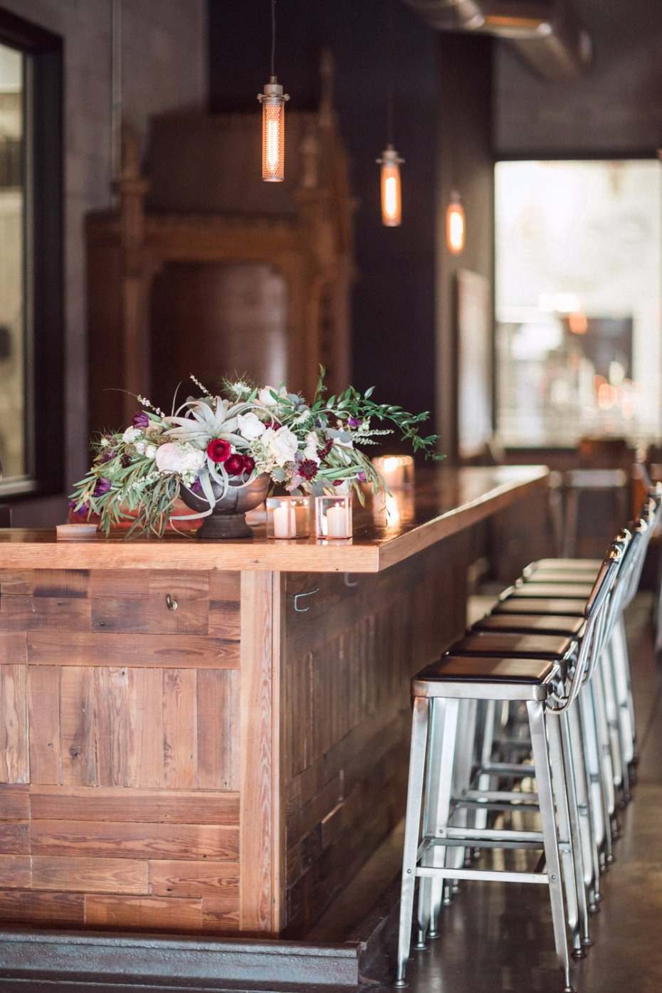 Bar seating for a brewery wedding