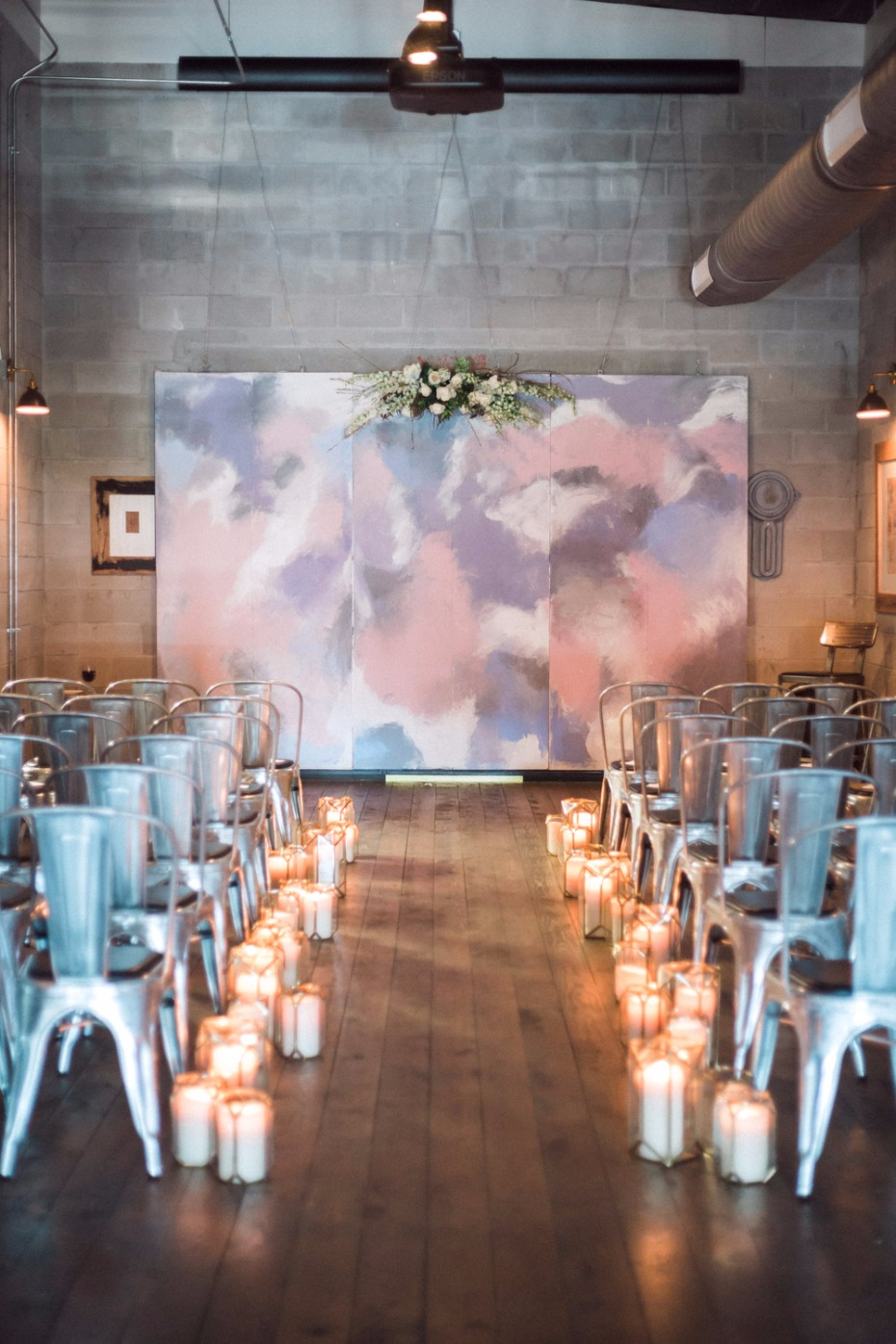 Painted ceremony backdrop