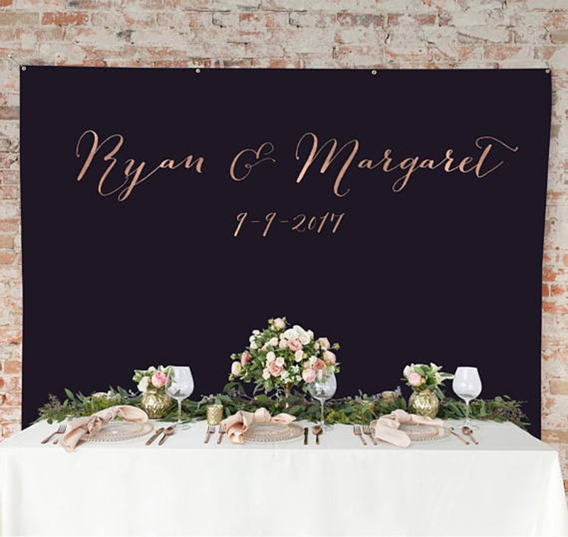 Miss Design Berry's personalized wedding backdrop curtain is available in 4x7 FEET and 6x8 FEET, is made of vinyl, and makes awesome