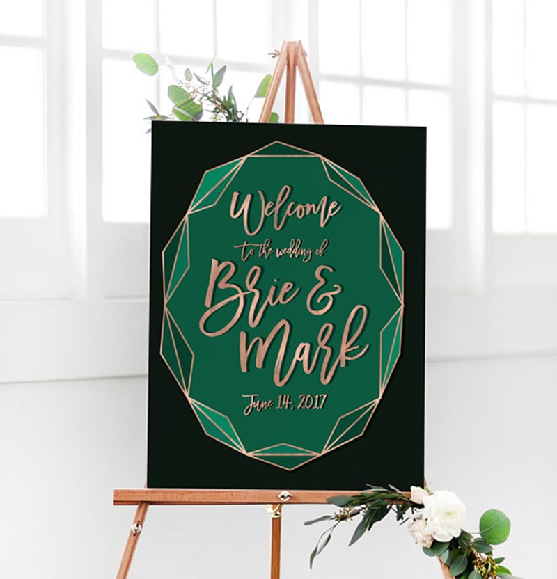 Miss Design Berry's geometric wedding welcome sign features emerald green and copper colors along for a modern, chic look!!
