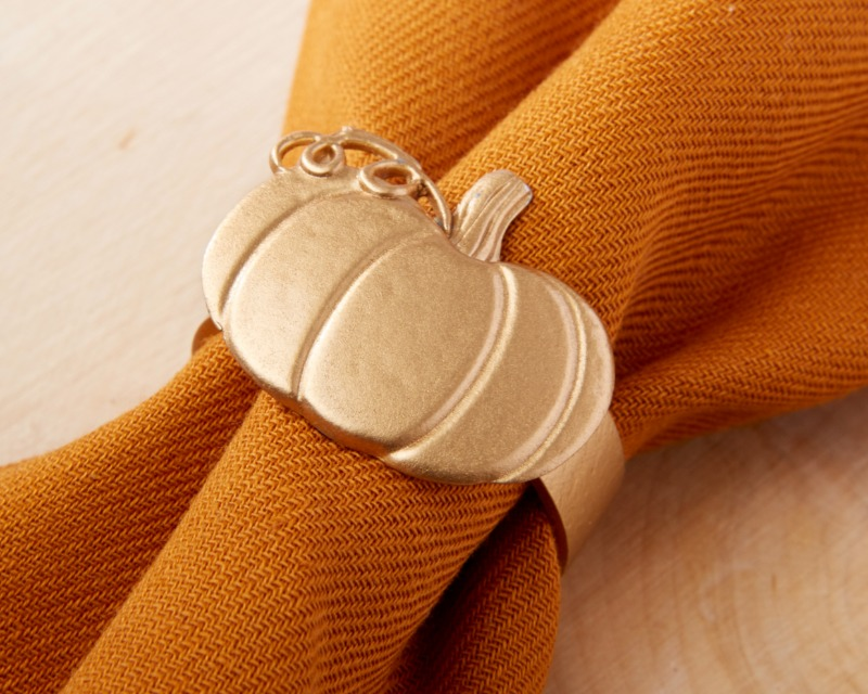 In shining gold, Kate Aspen's Pumpkin Napkin Ring is sold in sets of 4, and ready to decorate your fall wedding,