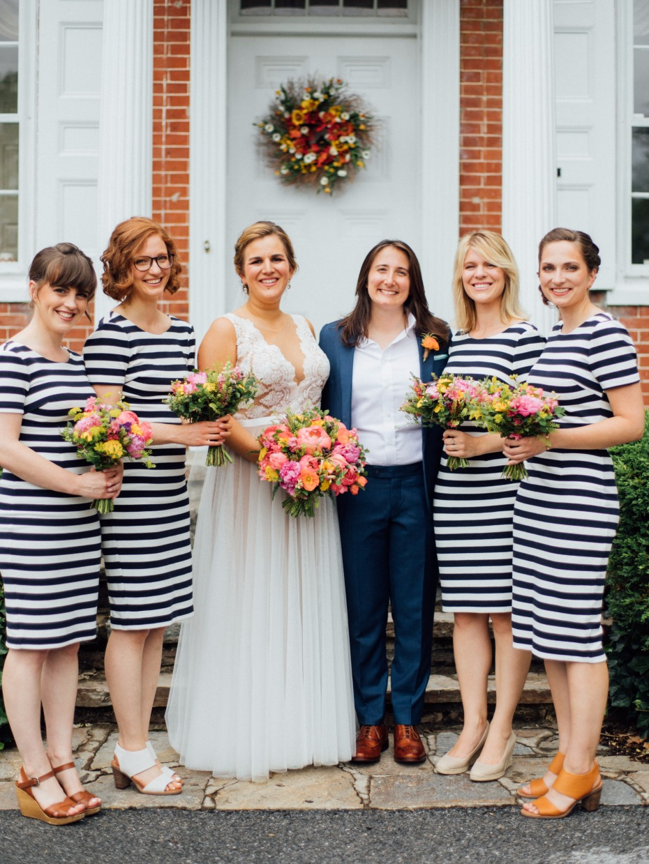 bridesmaids on stripes