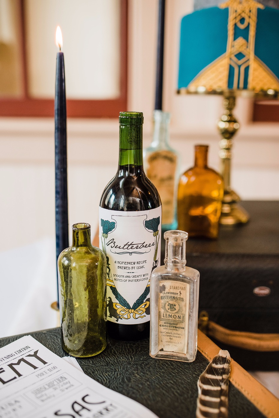 Vintage bottles for a Fantastic Beasts wedding