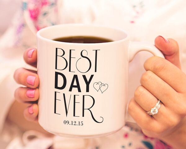 ☕ His and hers coffee mugs feature a creative Best Day Ever design and join you two in caffeinated bliss.