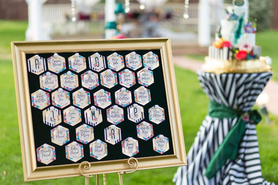 Colorful modern honeycomb seating chart