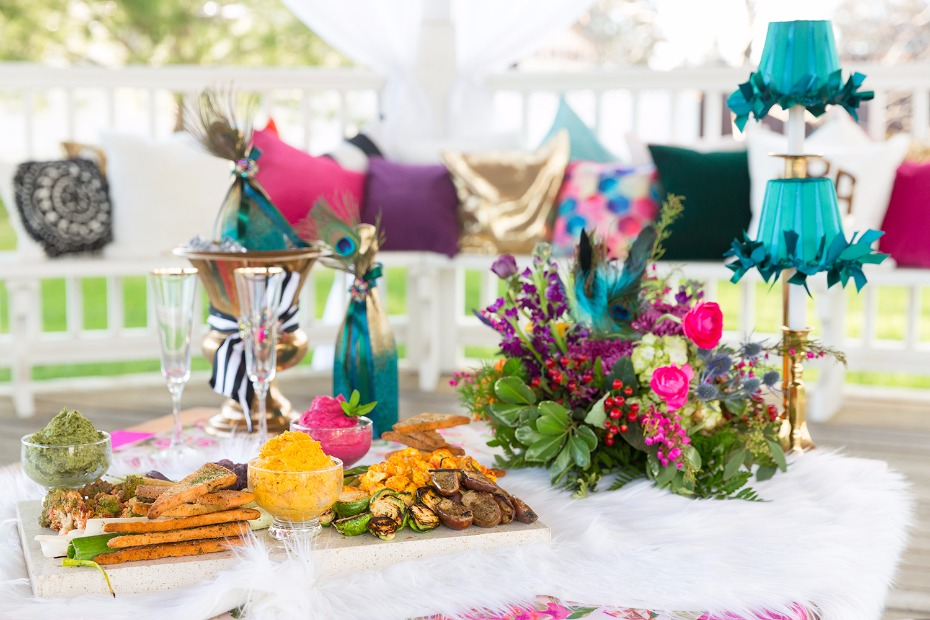Jewel toned table with finger food