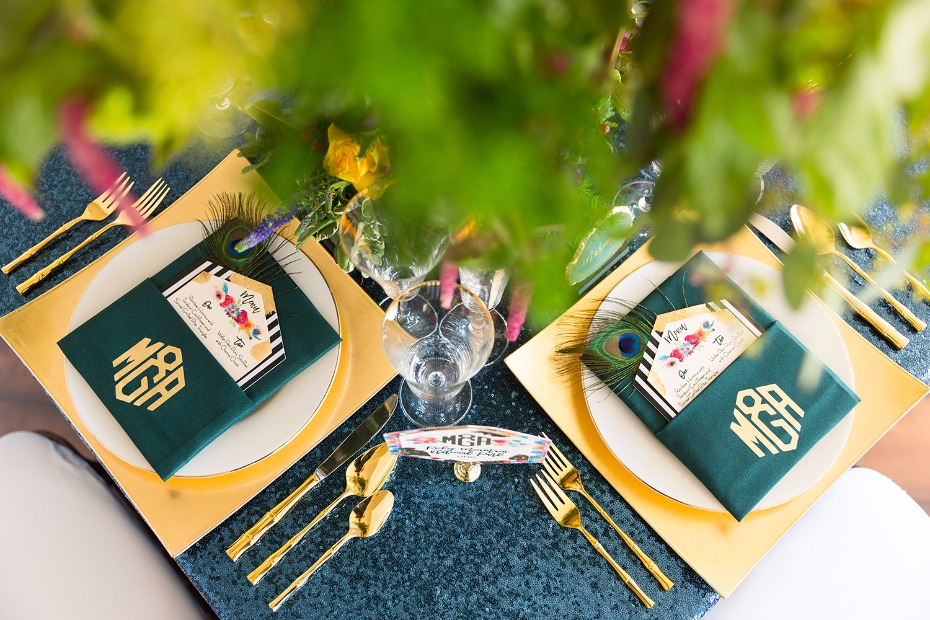 Green blue and gold table decor