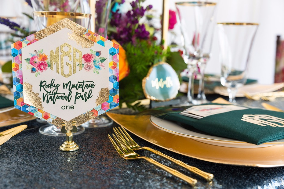 Vibrant table number design
