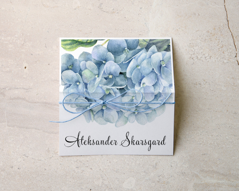 Hydrangea wedding place card with addition of twine