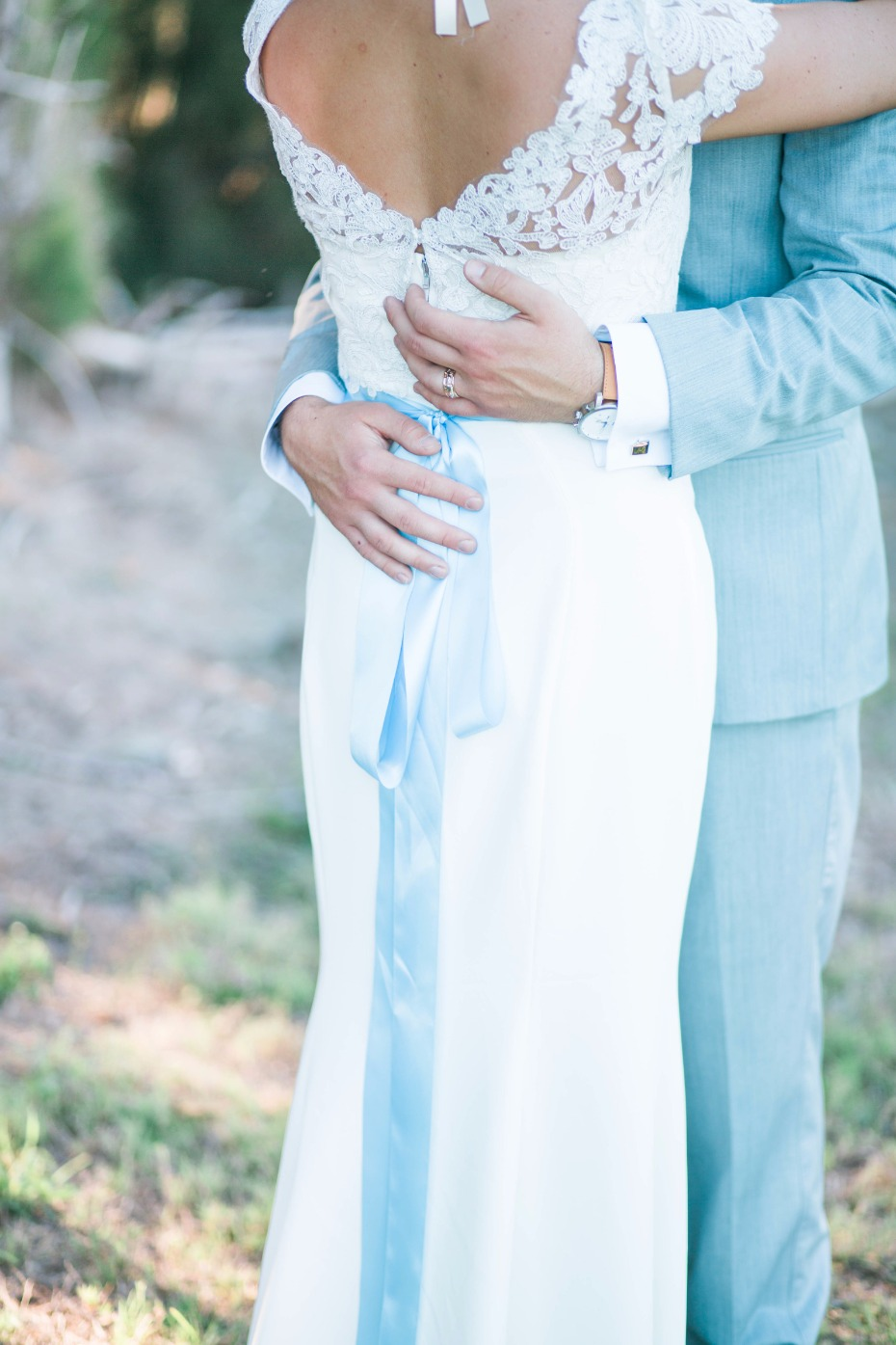 blue sash wedding dress