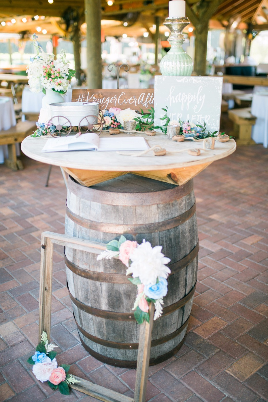 rustic chic wedding welcome table