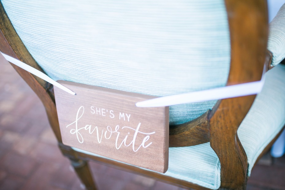 shes my favorite wedding chair sign