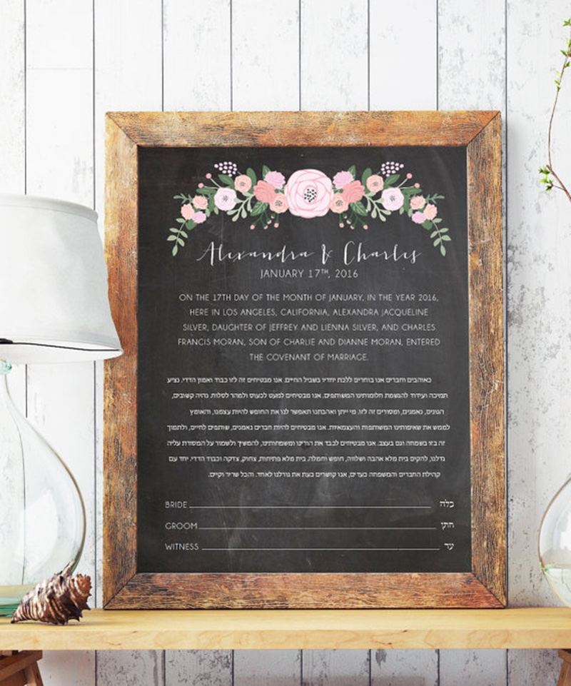 Miss Design Berry's chalkboard wedding Ketubah features a beautiful flower banner at the top that you can customize by choosing any