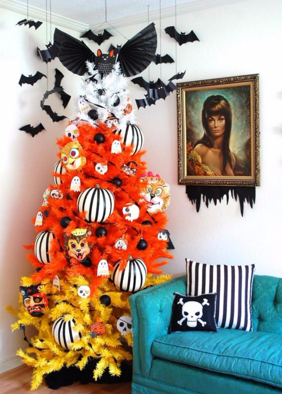 decorate a halloween tree