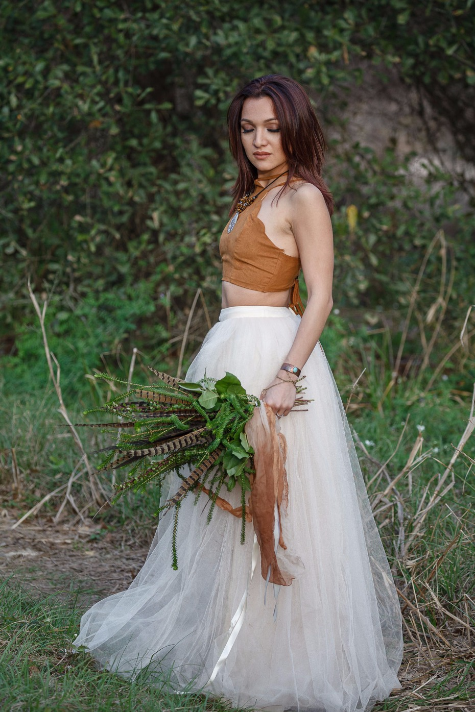 boho pocahontas themed wedding look