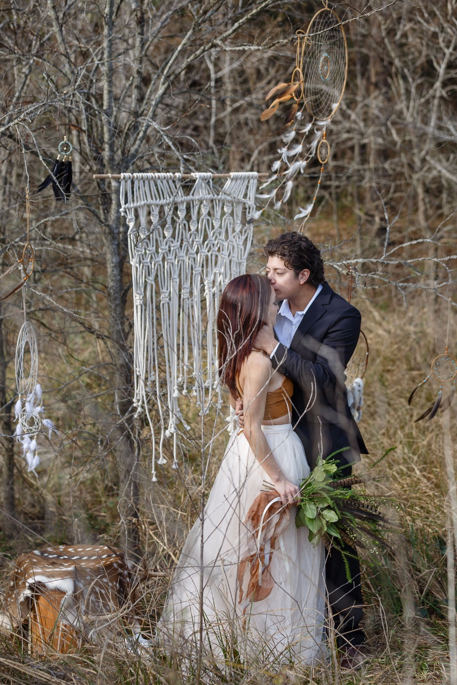 macramé and dream catcher wedding ceremony