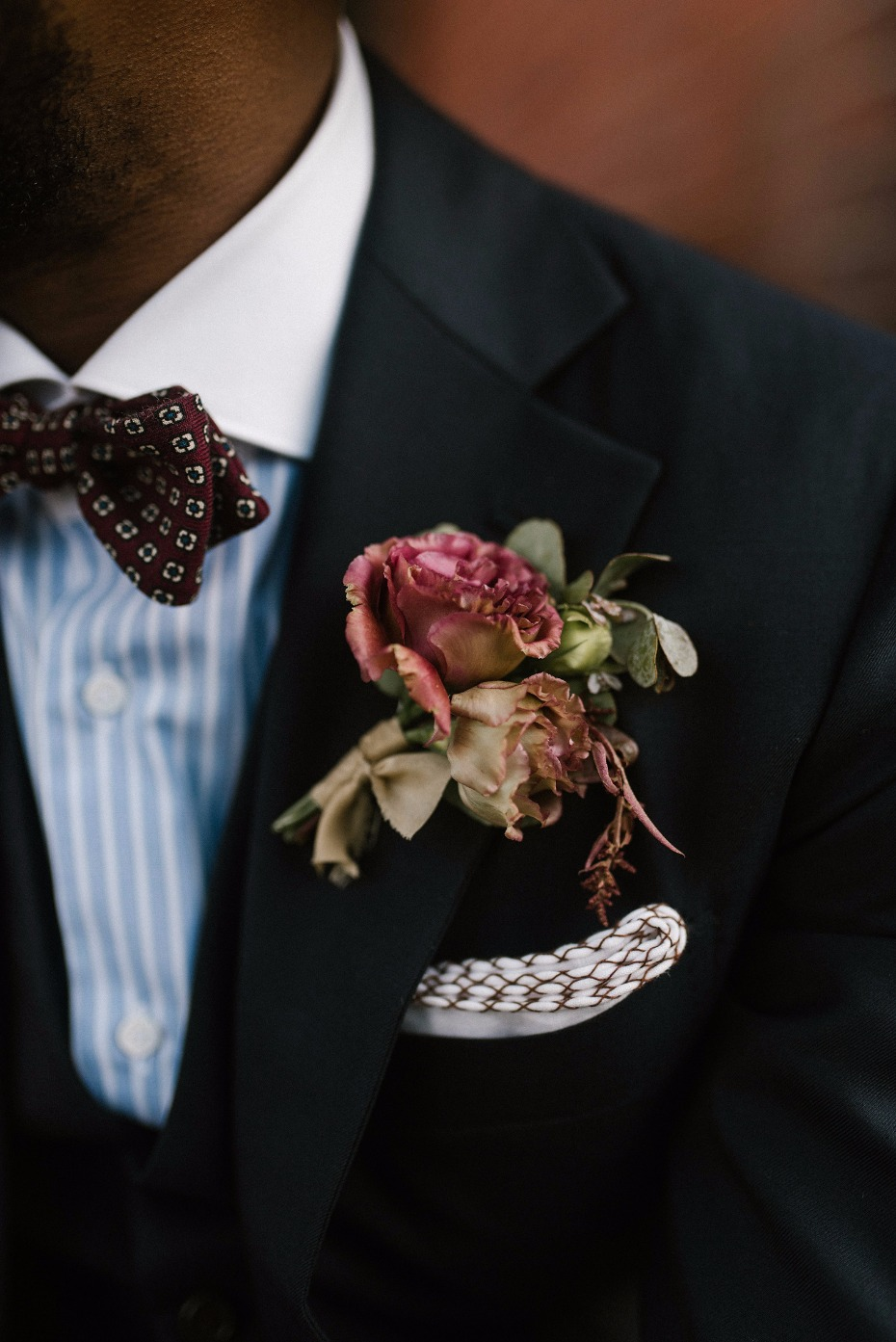Fall rose boutonniere