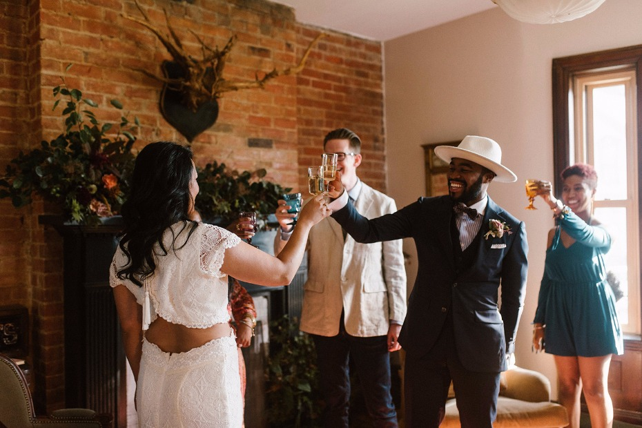 Cheers to this at-home elopement in Detroit