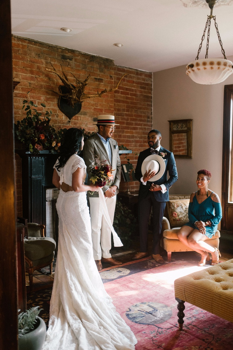 Stylish at-home elopement idea