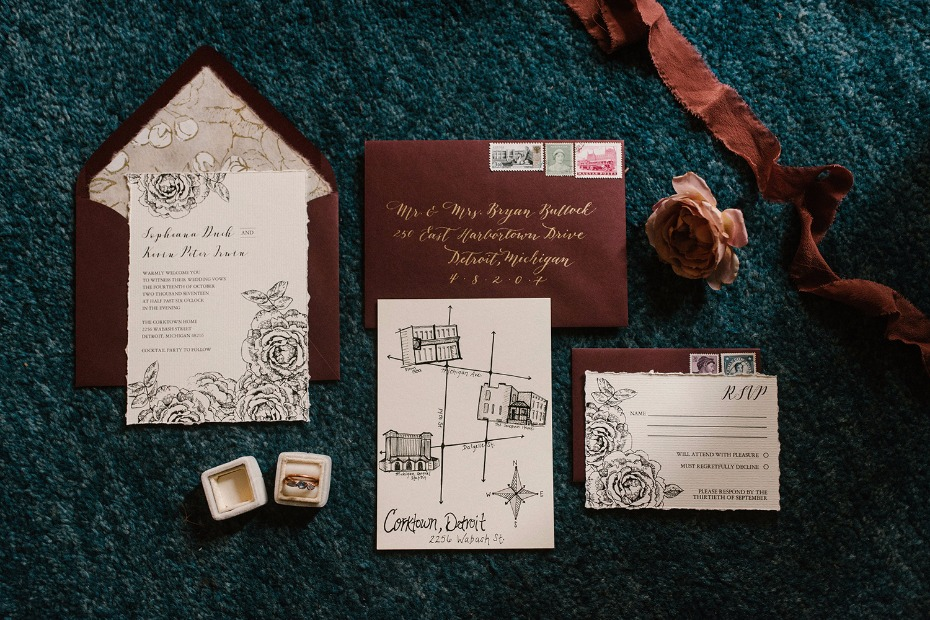Gorgeous rose invitation suite