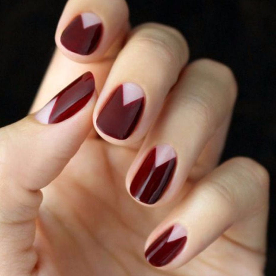 negative space maroon nails
