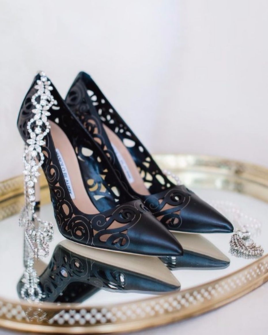 black laser cut wedding shoes