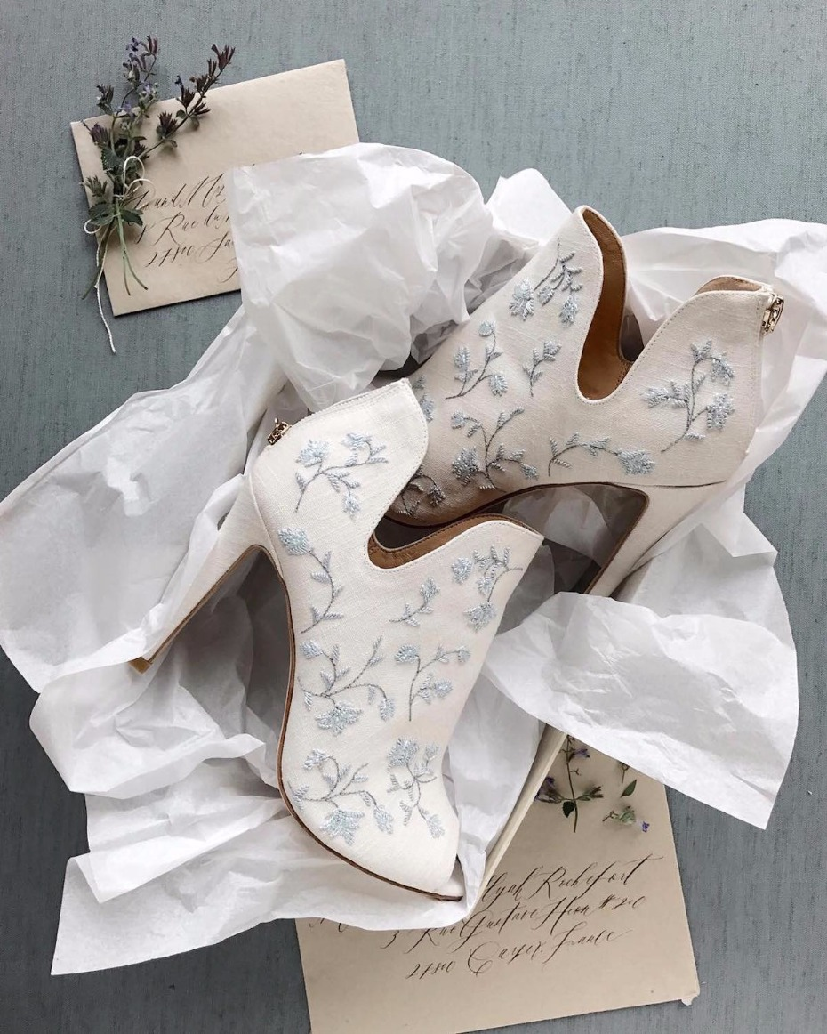peep toe high heel wedding booties