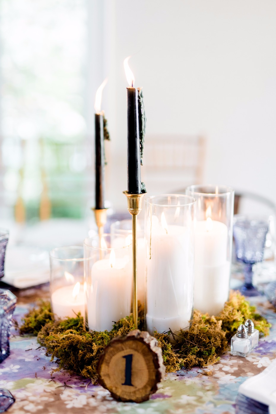 Black candle sticks centerpiece idea