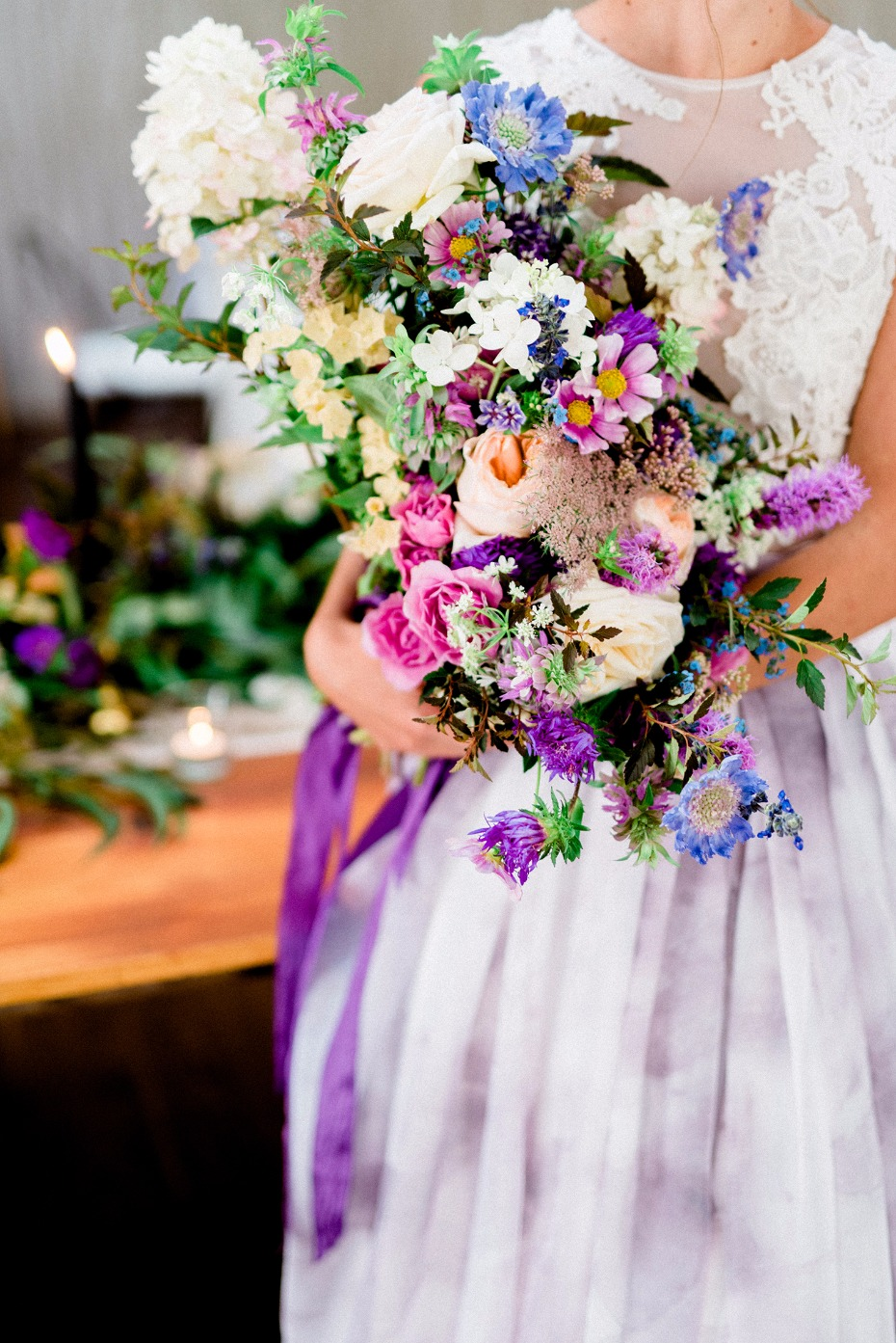purple bouquet and skirt