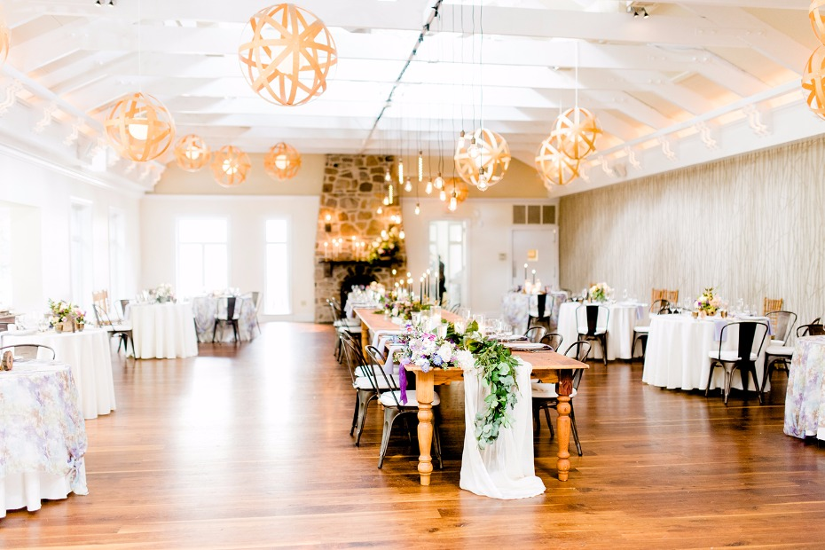 Beautiful reception venue and lighting