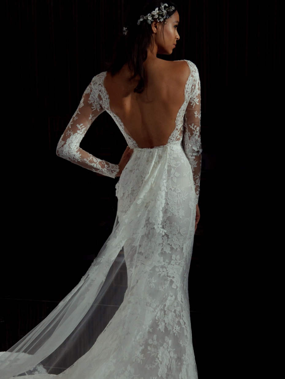 lace strapless wedding gown from Pronovias